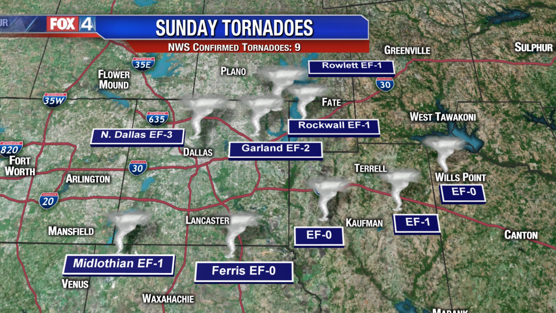 Nine Tornadoes Confirmed From Sunday Night Outbreak Across North